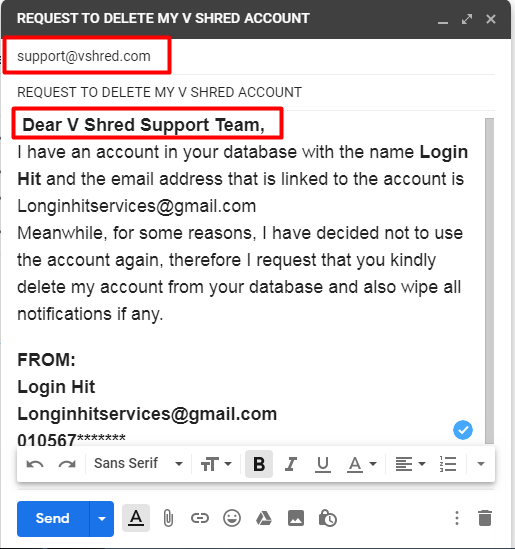 How To Delete V Shred Account